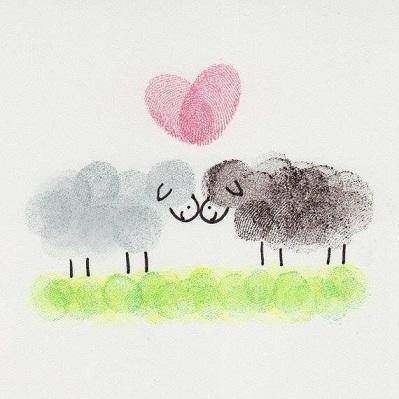 کشیدن گوسفند با رنگ آبرنگ و انگشت