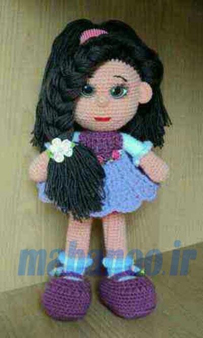 آموزش سبزه روی دامن عروسک بافت عروسک دختر با موهای بافته - مابانو